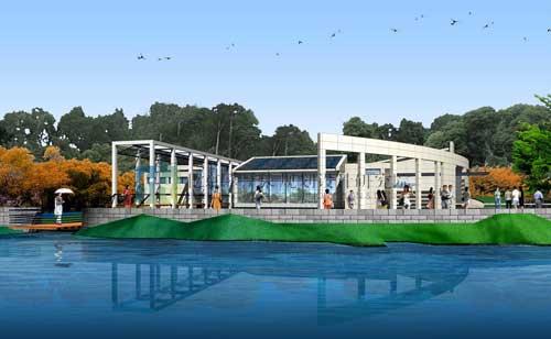 某濱湖廣場景觀設計,由兩條對稱弧線圍合而成,濱水一側開放,形成了